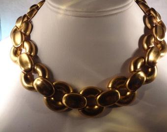 "SALE Gold Chain Link Necklace/Choker  Large Statement ""Ann Klien"" Necklace, Chocker Necklace/ Brushed Gold Necklace Large Chain Links"