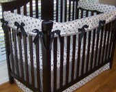 Fleur De Lis Crib Bedding, Bumperless, Custom Made Rail Guard Covers and Skirt