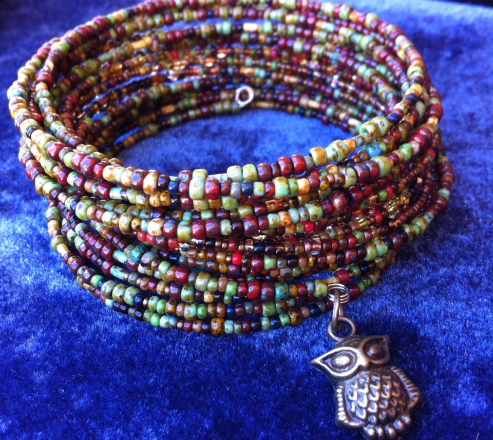 Multi Color Earth Tone Seed Bead Memory Wire Bracelet