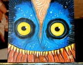 Original acrylic painting on wood canvas by Dennis A. 6x6 lowbrow Astrocreep alien monster