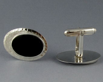 Black Onyx Cuff Links, Hammered Sterling Silver