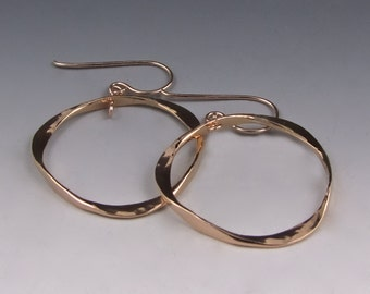 Triangle Hoops, 14K Rose Goldfill - Hammered Earrings