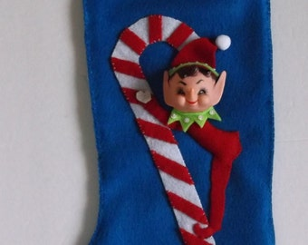 A PIXIE CHRISTMAS -Handcrafted Retro Elf Lined Christmas Stocking