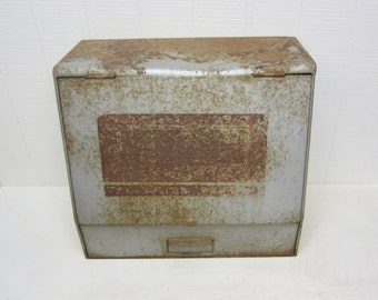 Vintage Cabinet Rusty Metal Sorenson Automobile Parts Cabinet