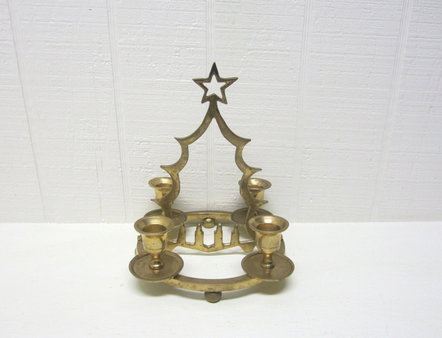Vintage brass christmas tree candle holder for Christmas candle displays