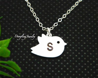 Personalized Children Necklace, Bird Necklace, Initial Necklace, Flower Girl Necklace, Girls Necklace, initial Jewelry, Holiday Gift for Kid