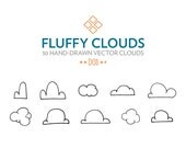 Fluffy Clouds -- INSTANT DOWNLOAD -- cloud clip art, hand drawn, illustration,