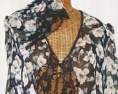 Laura Adams Sheer Robe New Vintage With Store Tags Bell Shape Sleeves Sweeping Hemline Black