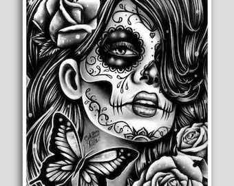 Day of the Dead Poster Sugar Skull Girl Butterfly Tattoo Art Wall Art Epiphany 18x24 inch Signed Art Print Dia De Los Muertos