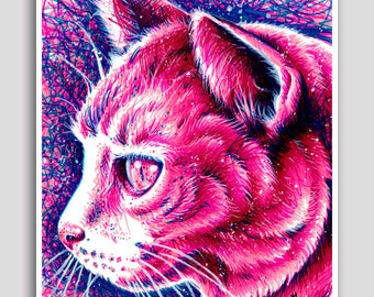 18x24 inch Hand Signed Poster Print - Kitty by Carissa Rose - Pink Colorful Pop Art Cat Art Feline Marker Portrait