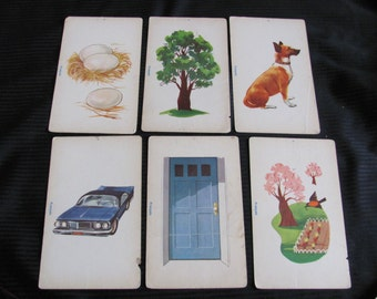 Vintage French Phonics Flash Card - Eggs Tree Dog Car Door Spring