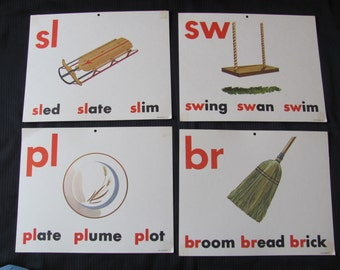 Old School Large Flash Card Print - Vowels Consonants - Choice of Broom Sled Swing Plate 8 x 10