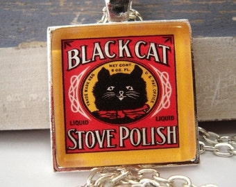 Vintage Black Cat Pendant Necklace Stove Polish Advertising Altered Art with Gift Pouch