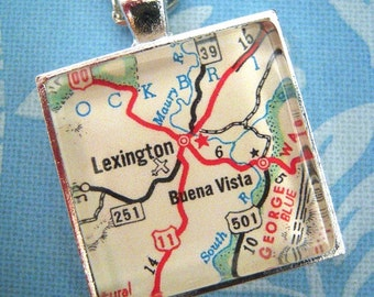 Custom Map Jewelry, Lexington Buena Vista Virginia Vintage Map Pendant Necklace, Personalize Map Jewelry, Map Cuff Links, Groomsmen Gifts