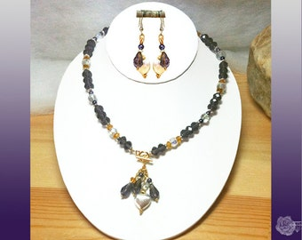 """16"""" Necklace Purple Velvet Clear AB n Topaz Crystal Rondels Purple Pearls Mixed Metal Brushed Silver Hearts Lariat Necklace And/Or Earrings"""