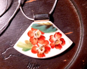 Beautiful Trio - Recycled BROKEN CHINA PLATE Necklace