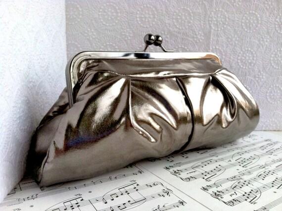 Metallic clutch, gunmetal clutch bag, gray clutch, framed clutch, formal clutch purse