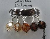 Silver Plated Ombre Neutrals Swarovski Crystal Medium Stitch Markers