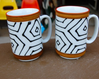 Vintage Graphic Pair of coffee cups.