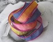 Hand Dyed Painted Habotai Silk Wrap Bracelet - navy hot pink yellow - Silk Fairy Ribbon DIY wrap bracelet Silk Bracelet  Ribbon Bracelet