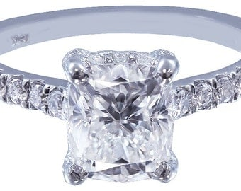 18k white gold cushion cut diamond engagement ring art deco 1.65ct h-vs2 egl usa