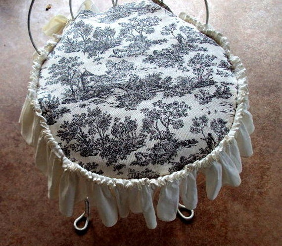 Vanity Stool Cover Includes Cushion Ruffled Edge With Bow