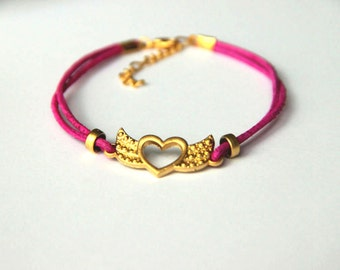Minimalist  Bracelet  gold plated heart with wings design  with pink  cord