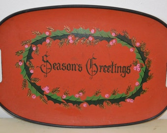 Vintage Christmas Tray - Seasons Greetings