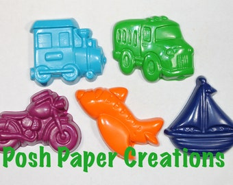 5 motor vehicle crayons - individually wrapped in cello bag tied with ribbon