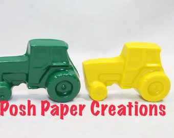 15 sets of 2 tractor crayons - yellow and green - in cello bag tied with ribbon