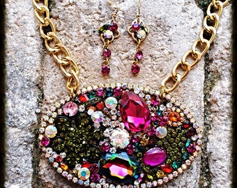 Multi Jeweled Crystal Statement Colorful  Pendant Necklace and Earring Set