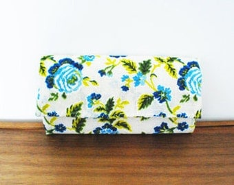 Blue and Olive Floral Cloth Trifold Clutch Wallet