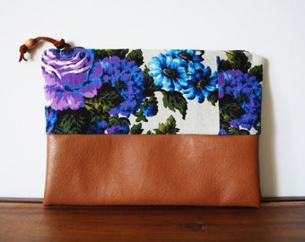 Upcycled Indigo and Violet Floral Cotton and Cognac Vegan Leather Zipper Pouch
