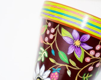 "Hand Painted Terracotta Pot 6 Inch ""Brightly"" Made to Order"