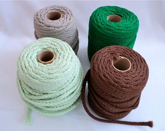 Macrame Braid Craft Cord - Set of 4 - Light Grey, Light Green, Dark Brown, Light Brown
