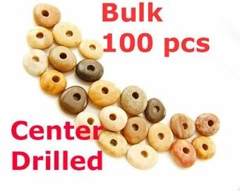 Beach Stones,Center Drilled 100 pcs,Jewelry Supplies ,bulk