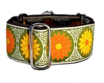 Martingale Collar: Orange and Yellow Daisies Jacquard - 2 Inch, Greyhound Collar, Whippet Collar, Dog Collar, Saluki Collar