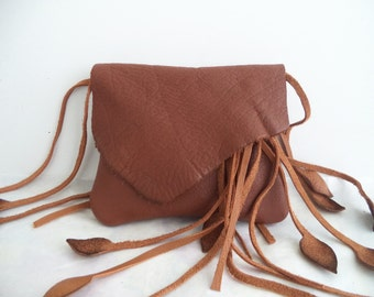 brown leather handbag, hip bag, belt bag with leaf fringe by Tuscada. Made to order