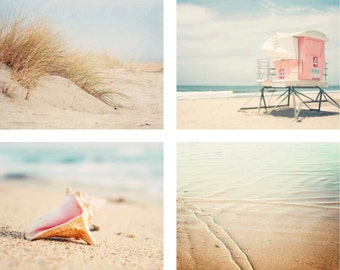 Gallery Wall, Beach Photography Print Set, Beach House Art, Coastal Wall Art,  Pastel, Beach Decor, Beach Set