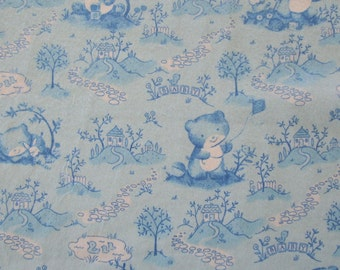 Baby Bear Blue Snuggle Flannel sewing and quilting fabric. 1 yard or more
