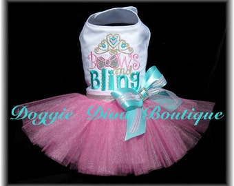 Dog Dress - Dog Tutu Dress - Bows and Bling Sparkle - Pink & Aqua Medium
