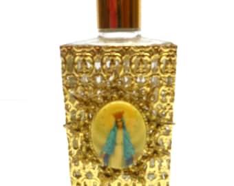 Vintage Gold Filigree Religious Perfume Bottle