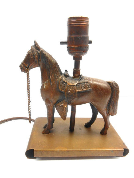 Vintage Brass Horse Lamp