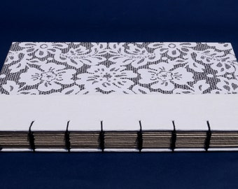 Black & white Coptic binding paisley notebook / journal