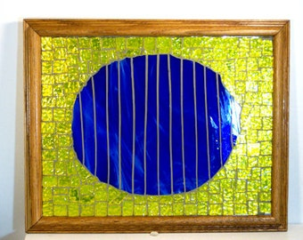 Stained Glass Mosaic Glass On Glass Abstract Art Housewares Home Decor Wall Decor Wall Hanging Blue Moon