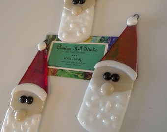 Fused Glass Santa Ornament - Ziggy