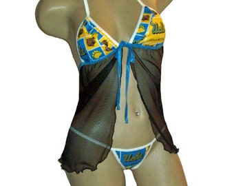 NCAA UCLA Bruins Lingerie Negligee Babydoll Sexy Teddy Set with Matching G-String Thong Panty