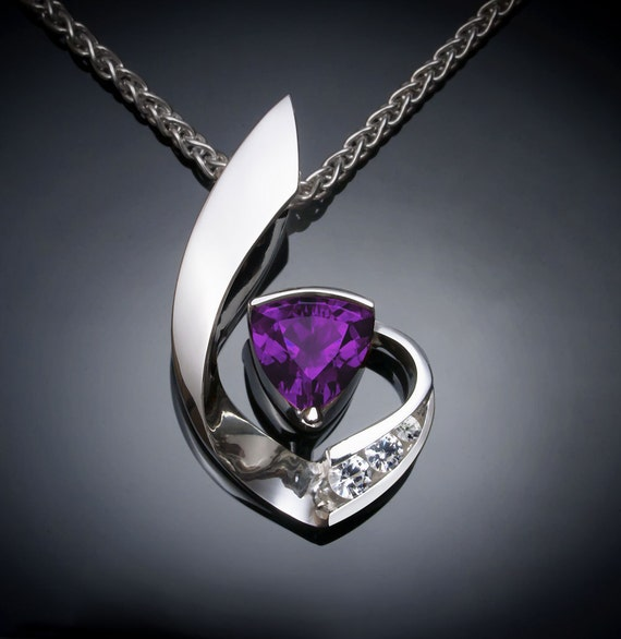 amethyst necklace, amethyst pendant, February birthstone, white sapphires, Argentium silver, purple gemstone, trillion cut - 3466