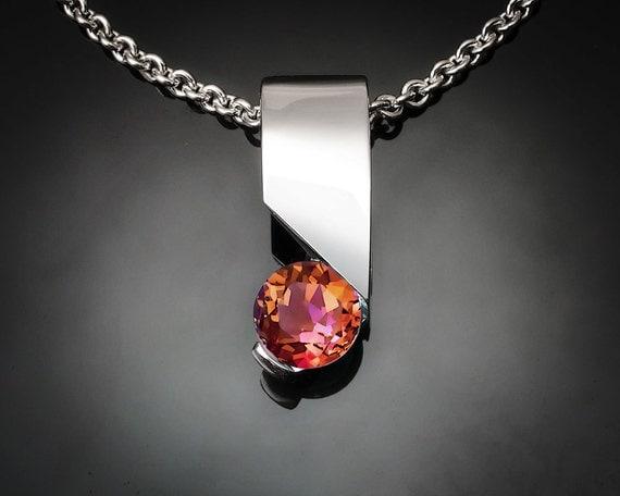 mystic topaz necklace, silver pendant, Argentium silver, eco-friendly, multicolored stone, modern jewelry - 3460