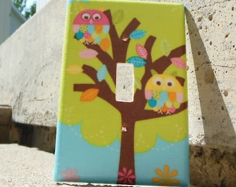 Owls in Tree Brown Light Switch Plate Cover, Kid's Room, Nursery